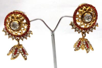 Womaniya leaf design red Alloy Jhumki Earring
