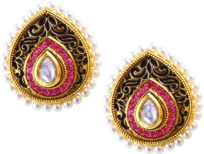 Jahnvi Ruby enamel Metal Drop Earring