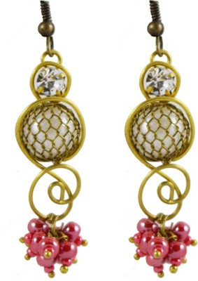 Harini Designer Hanging Pink Stone Alloy Dangle Earring