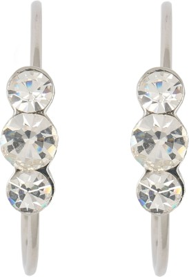 Diovanni Tripple Stone Silver White Crystal Crystal, Alloy Hoop Earring