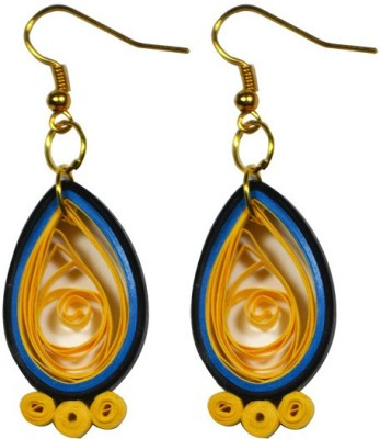 Trendmania Yellow and Blue multi layered paper quilled earrings Paper Dangle Earring