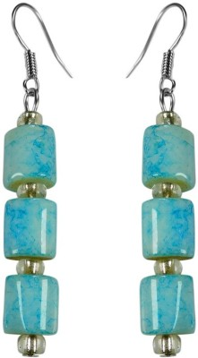 Crystals & Beads Turquoise Blue Colour Drum Bead & White Crystal Acrylic, Glass, Crystal Dangle Earring