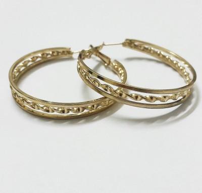 Bling-Bling Golden Intricate Alloy Hoop Earring