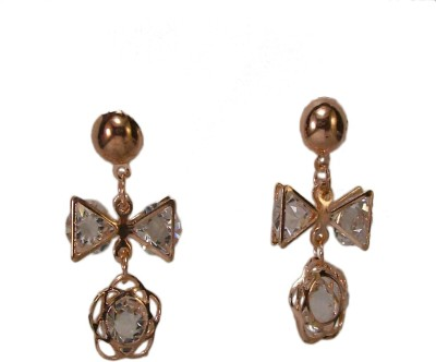Bandish Rose Gold toned Floral stone studded Alloy Dangle Earring
