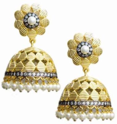 E-Designs ERG49GP1212-1580 Cubic Zirconia Alloy Jhumki Earring