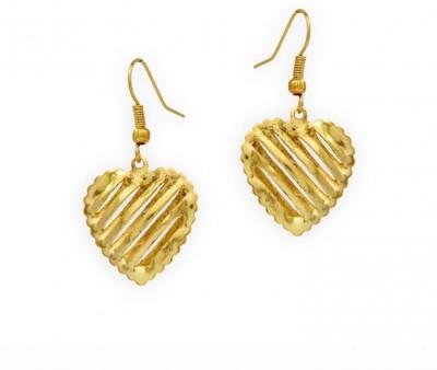 Jewelskaro Dangling Latest Fashion Designs Heart Shape Gold Plated Brass Dangle Earring