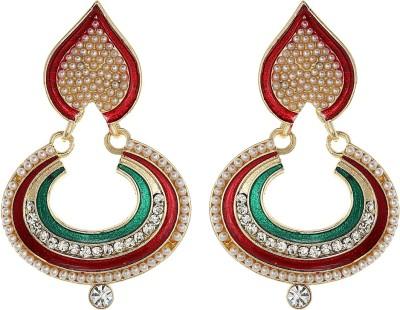 Amroha Crafts Red Green Motif ChandBaali Alloy Chandbali Earring
