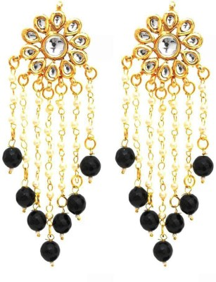 Fashionography The Charming Kundan Pearls Danglers - Black Alloy Tassel Earring