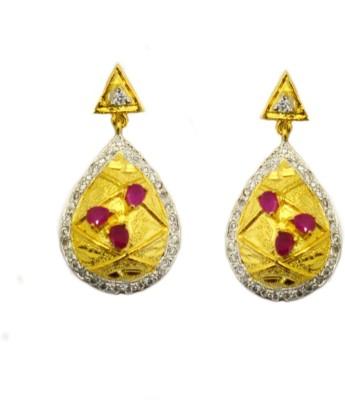 Dilan Jewels Royal Golden Red Drops Zircon Silver Drop Earring