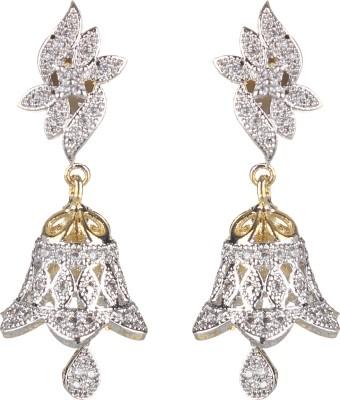 SAADGI Real look gold plated studded with American diamond Cubic Zirconia, White Zircon, Zircon Metal Jhumki Earring, Drop Earring