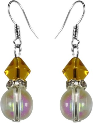 Crystals & Beads Sapphire Yellow Colour Bicone Crystal & Rainbow White Crystal with Diamond Spacer Acrylic, Glass, Crystal Dangle Earring