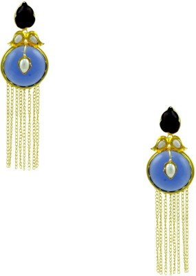 Orniza Boutique Earrings in Purple Color and High Gold Polish Brass Dangle Earring