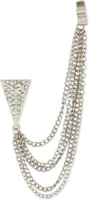 Oomph White & Silver Crystal & Chain Fashion Jewellery Ear Cuff Earring for Women & Girls (Single Piece) Metal Cuff Earring
