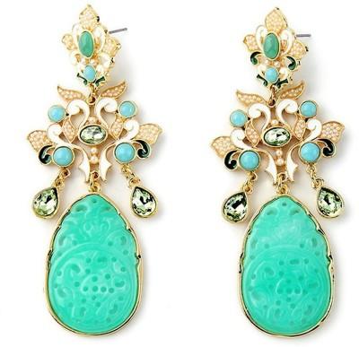 Mehrunnisa Classy Sea Green Carved Resin Crystal Pearl Metal Drop Earring