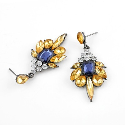 Oomph Gold, Blue & White Crystal Fashion Jewellery for Women, Girls & Ladies Metal Dangle Earring