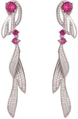 TUAN leaf shaped dazzling dangle Cubic Zirconia, Tourmaline Sterling Silver Chandelier Earring