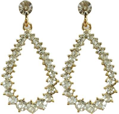 Jasveen Jewellery White Swarovski Metal Drop Earring