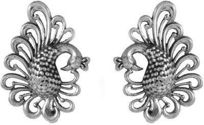 Factorywala PEACOCK DESIGN IN OXIDISED FINISH Sterling Silver Stud Earring