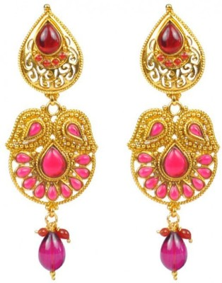Jillcart Gold Plated Stylish Earring with Red Stone Ruby Copper Dangle Earring
