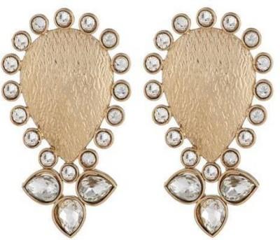 Art Nouveau Beautiful Design AD Stone Studded Traditional Partywear Brass Chandelier Earring