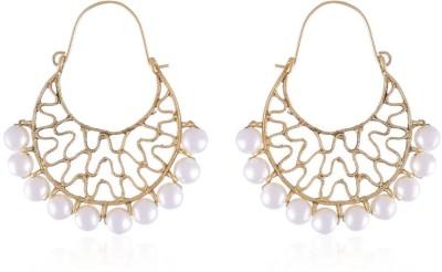Vastradi Gold & Pearls Brass Chandbali Earring