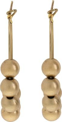 Niara Brass Golden Beads Pearls Metal Hoop Earring