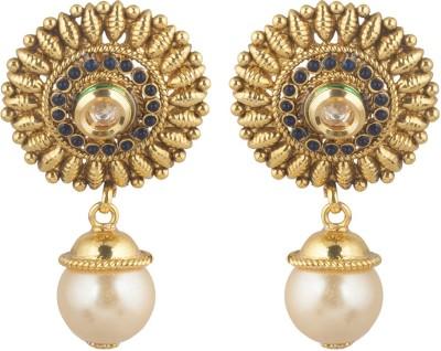 moKanc Royal Look Crystal Brass Drop Earring