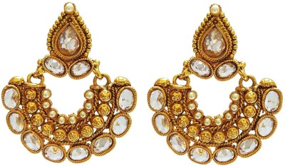 Mehrunnisa Traditional Ethnic Gold Plated Crystal And Zircon For Women Copper Drop Earring