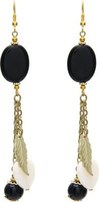 Galz4ever Black & Gold Leaf Alloy Dangle Earring