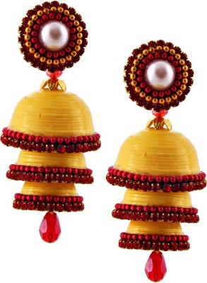 BigCart Hancrafted Yellow Triple Jhumka Brass, Copper Jhumki Earring