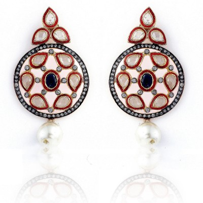 Aapno Rajasthan Sapphire Alloy Drop Earring
