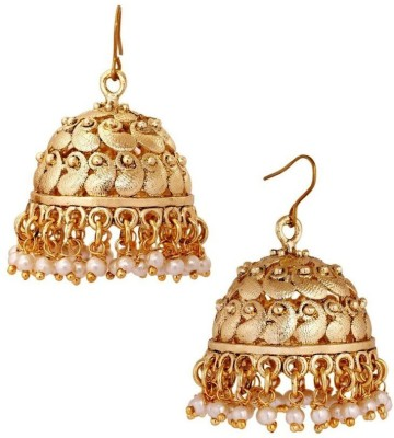 Deco Junction Beautiful Floral Design in White stone Brass Jhumki Earring