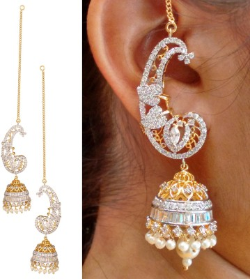 Swasti Jewels Elegant Zircon Ethnic Traditional Pearl Metal Jhumki Earring