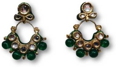 Rajgharana Kundan Green Cubic Zirconia Alloy Chandbali Earring