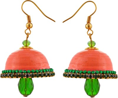 Jaipur Raga Hancrafted Orange Hook Jhumka Brass Jhumki Earring