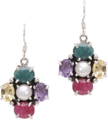 Watch Me Fancy-Four Danglers- multi Pearl, Amethyst, Ruby, Emerald Sterling Silver Dangle Earring