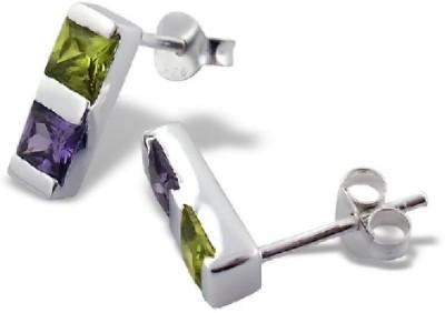 Maayin Olivine & Amethyst Sterling Silver Stud Earring