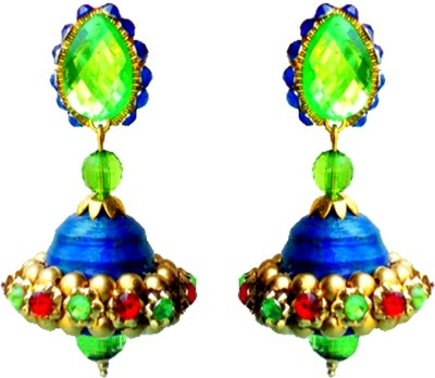 Make My Jhumkas Royal Green and Blue Paper Jhumki Earring