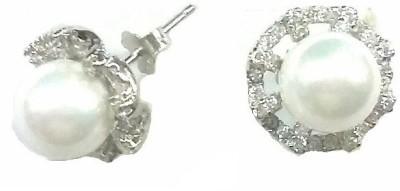 Vummidi Bangaru Chetty & Sons Dazzling Pearls Sterling Silver Stud Earring