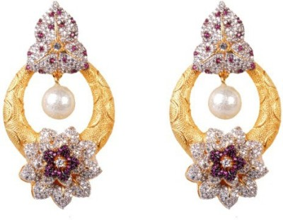 Dipshi Gold Colour White A D Stone & Pearl Design Gold Plated Jewellery Copper Drop Earring