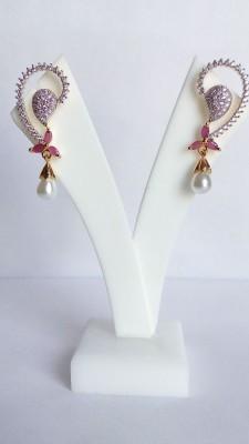 Shree Ji Creations AD Ruby Pearl Earring Cubic Zirconia Brass Drop Earring
