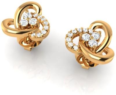 Arkina Diamonds Tri heart Yellow Gold 18kt Diamond Stud Earring