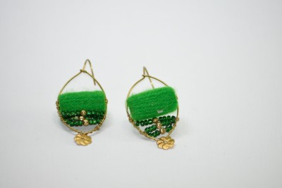 Ba No Batwo Green Rangakriti Handmade Earrings Cotton Dori, Plastic Dangle Earring
