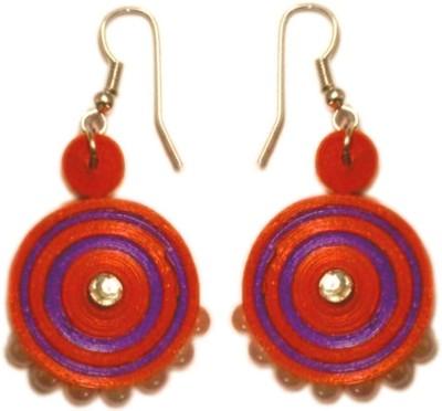 Vaishali's Quilling Jewellery Orange And Purple Combination Moti Work Paper Dangle Earring