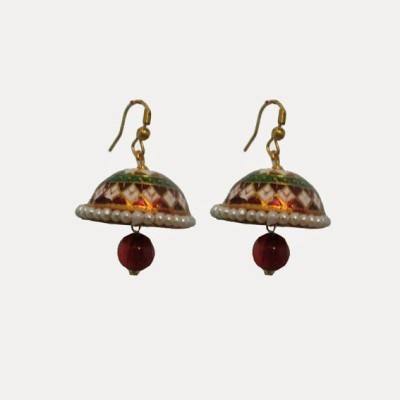 Indianpasand Rajastani Beautiful with Merron Bead Alloy Dangle Earring