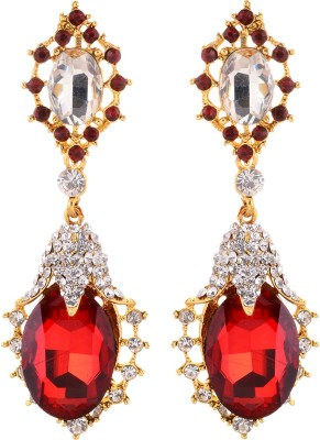 FR Red Stone Alloy Drop Earring