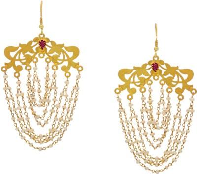 Krishna Pearls & Jewellers Princess Delight Zircon Silver Dangle Earring