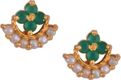 Mahaveer Pearls Pink & Green Style Brass Stud Earring