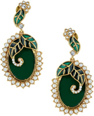 Gold & More Oval Shaped 2 Pearl Alloy Chandelier Earring