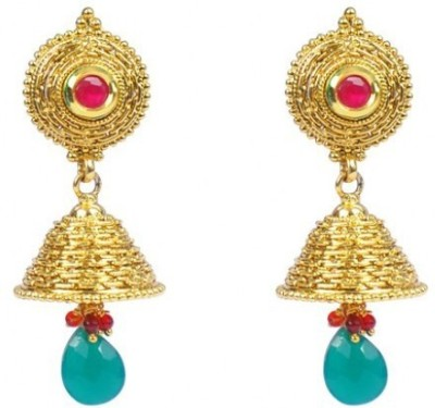 Jillcart Gold Plated Jhumka with Green and Red Stone Ruby Copper Jhumki Earring
